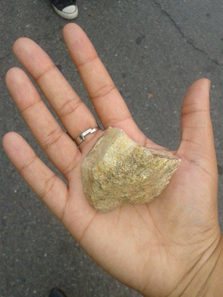Sarah fotografou a pedra que lhe atingiu a perna